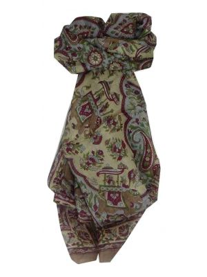 Mulberry Silk Traditional Long Scarf Nahan Brown by Pashmina & Silk