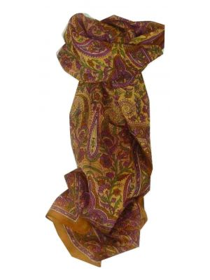 Mulberry Silk Traditional Long Scarf Kera Gold by Pashmina & Silk