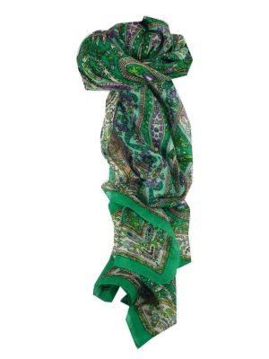 Mulberry Silk Traditional Long Scarf Ikna Teal by Pashmina & Silk