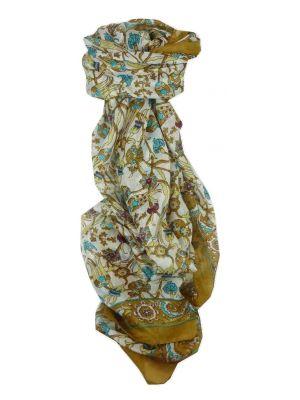 Mulberry Silk Traditional Long Scarf Indira Gold & Aquamarine by Pashmina & Silk