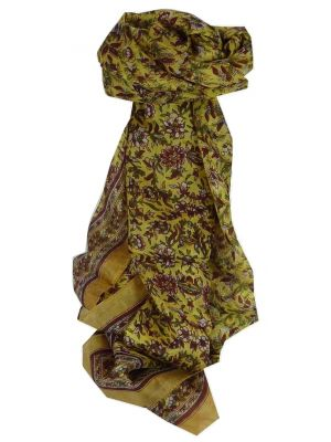 Mulberry Silk Traditional Long Scarf Eyma Gold by Pashmina & Silk