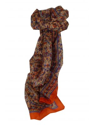 Mulberry Silk Traditional Long Scarf Eyma Tangerine & Blue by Pashmina & Silk