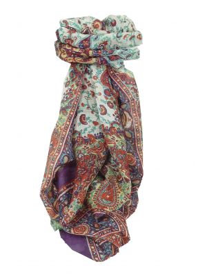 Mulberry Silk Traditional Long Scarf Tapti Violet by Pashmina & Silk