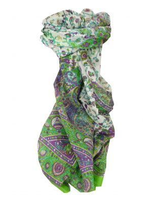 Mulberry Silk Traditional Long Scarf Tapti Citron Vert by Pashmina & Silk