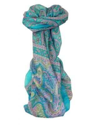 Mulberry Silk Traditional Long Scarf Koel Aquamarine by Pashmina & Silk