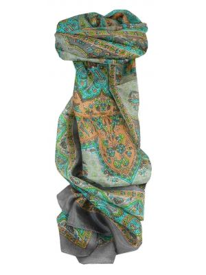 Mulberry Silk Traditional Long Scarf Kali Slate by Pashmina & Silk