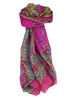 Mulberry Silk Traditional Long Scarf Kali Pink by Pashmina & Silk
