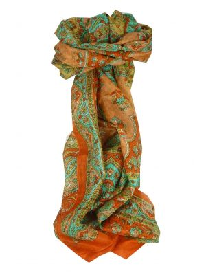 Mulberry Silk Traditional Long Scarf Kali Terracotta by Pashmina & Silk