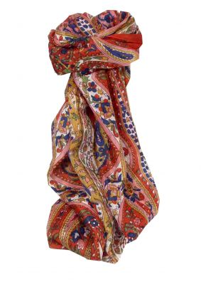 Mulberry Silk Traditional Long Scarf Yola Red by Pashmina & Silk