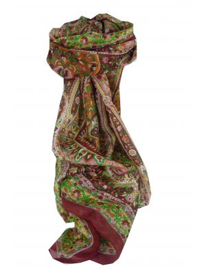 Mulberry Silk Traditional Long Scarf Esha Red by Pashmina & Silk
