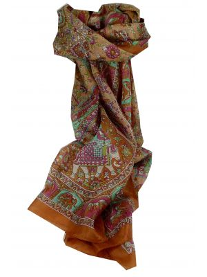 Mulberry Silk Traditional Long Scarf Baira Chestnut by Pashmina & Silk