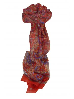 Mulberry Silk Traditional Long Scarf Baira Red by Pashmina & Silk