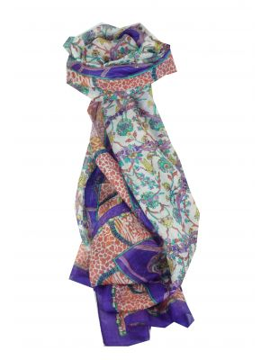Mulberry Silk Traditional Long Scarf Bijul Violet by Pashmina & Silk