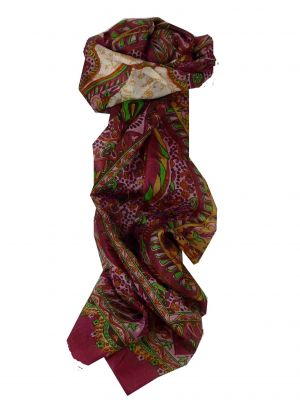 Mulberry Silk Traditional Long Scarf Alampur Red by Pashmina & Silk
