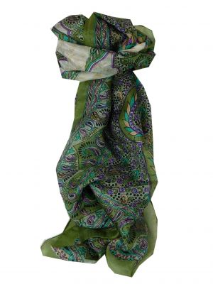 Mulberry Silk Traditional Long Scarf Alampur Sage by Pashmina & Silk