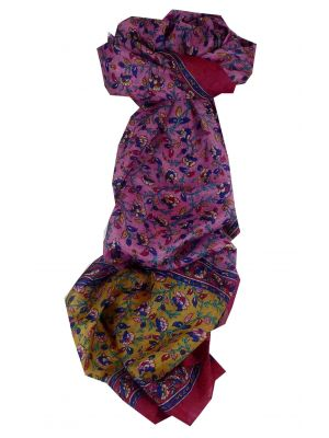 Mulberry Silk Traditional Long Scarf Aditi Fuchsia by Pashmina & Silk