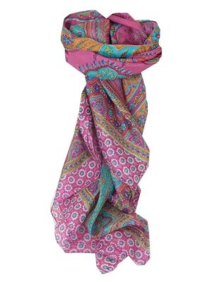 Mulberry Silk Traditional Square Scarf Uttara Cerise by Pashmina & Silk