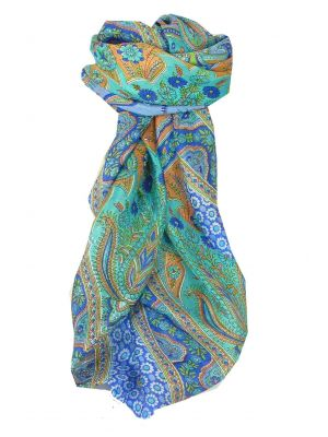 Mulberry Silk Traditional Square Scarf Uttara Blue by Pashmina & Silk