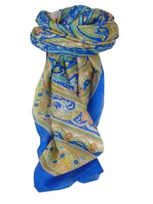 Mulberry Silk Traditional Square Scarf Penner Blue by Pashmina & Silk