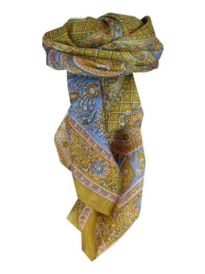 Mulberry Silk Traditional Square Scarf Vaan Gold by Pashmina & Silk
