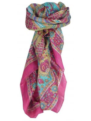 Mulberry Silk Traditional Square Scarf Vaan Cerise by Pashmina & Silk