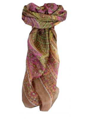 Mulberry Silk Traditional Square Scarf Vaan Caramel by Pashmina & Silk