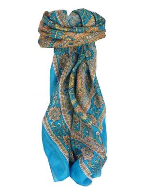 Mulberry Silk Traditional Square Scarf Vaan Aquamarine by Pashmina & Silk