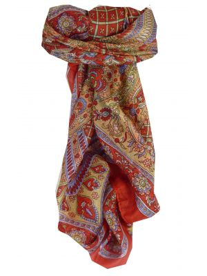 Mulberry Silk Traditional Square Scarf Vaan Red by Pashmina & Silk