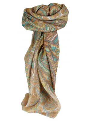 Mulberry Silk Traditional Square Scarf Zarak Caramel by Pashmina & Silk