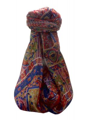 Mulberry Silk Traditional Long Scarf  Ajay  Red by Pashmina & Silk