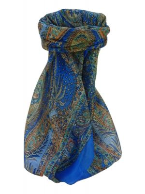 Mulberry Silk Traditional Square Scarf Chatur Blue by Pashmina & Silk