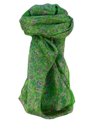 Mulberry Silk Traditional Square Scarf Dula Jade by Pashmina & Silk