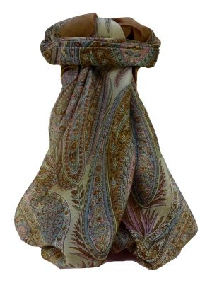 Mulberry Silk Traditional Square Scarf Chatur Cestnut by Pashmina & Silk