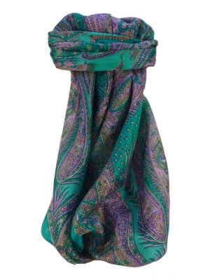 Mulberry Silk Traditional Square Scarf Chatur Teal by Pashmina & Silk