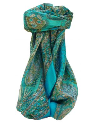 Mulberry Silk Traditional Square Scarf Chatur Aqua by Pashmina & Silk