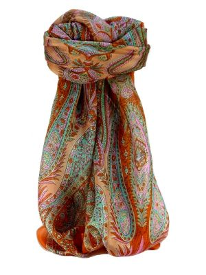 Mulberry Silk Traditional Square Scarf Chatur Tangerine by Pashmina & Silk