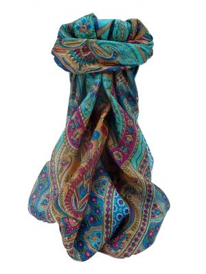 Mulberry Silk Traditional Square Scarf Marar Aqua by Pashmina & Silk