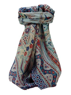 Mulberry Silk Traditional Square Scarf Marar Navy by Pashmina & Silk
