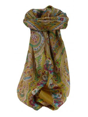 Mulberry Silk Traditional Square Scarf Nadia Caramel by Pashmina & Silk