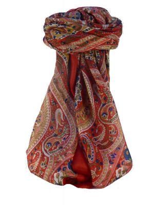 Mulberry Silk Traditional Square Scarf Nadia Scarlet by Pashmina & Silk