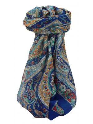 Mulberry Silk Traditional Square Scarf Nadia Blue by Pashmina & Silk