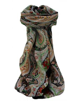 Mulberry Silk Traditional Square Scarf Nadia Black by Pashmina & Silk