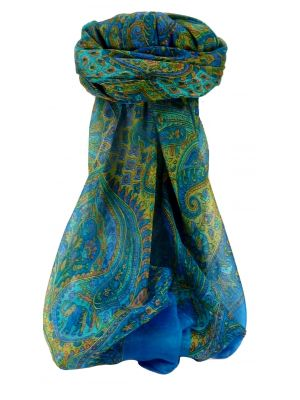 Mulberry Silk Traditional Square Scarf Orin Blue by Pashmina & Silk