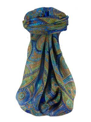 Mulberry Silk Traditional Square Scarf Kadri Blue by Pashmina & Silk
