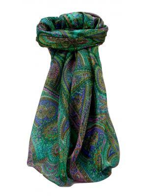 Mulberry Silk Traditional Square Scarf Kadri Emerald by Pashmina & Silk