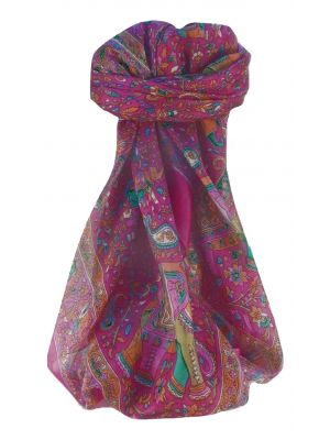 Mulberry Silk Traditional Square Scarf Kan Pink by Pashmina & Silk