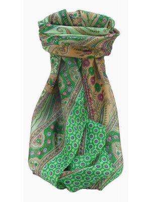 Mulberry Silk Traditional Square Scarf Kanikar Jade by Pashmina & Silk