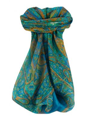 Mulberry Silk Traditional Square Scarf Keshar Aqua by Pashmina & Silk