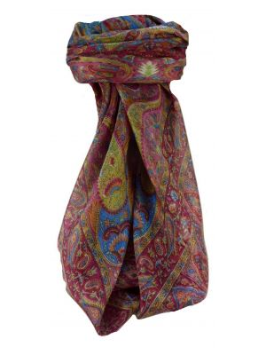 Mulberry Silk Traditional Square Scarf Keshar Rose by Pashmina & Silk