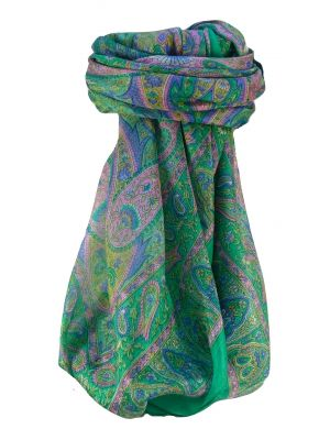 Mulberry Silk Traditional Square Scarf Keshar Jade by Pashmina & Silk